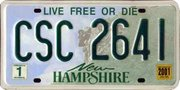 New Hampshire's Current License Plate